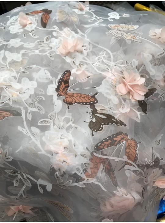 Органза 3D с бабочками (ширина 1.5 м) №7