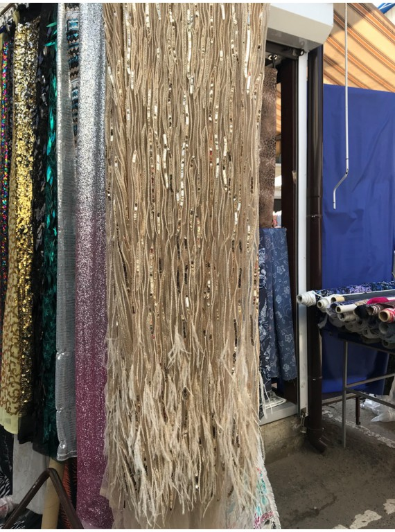 Паеточная ткань со страусиными перьями, ширина 1,5