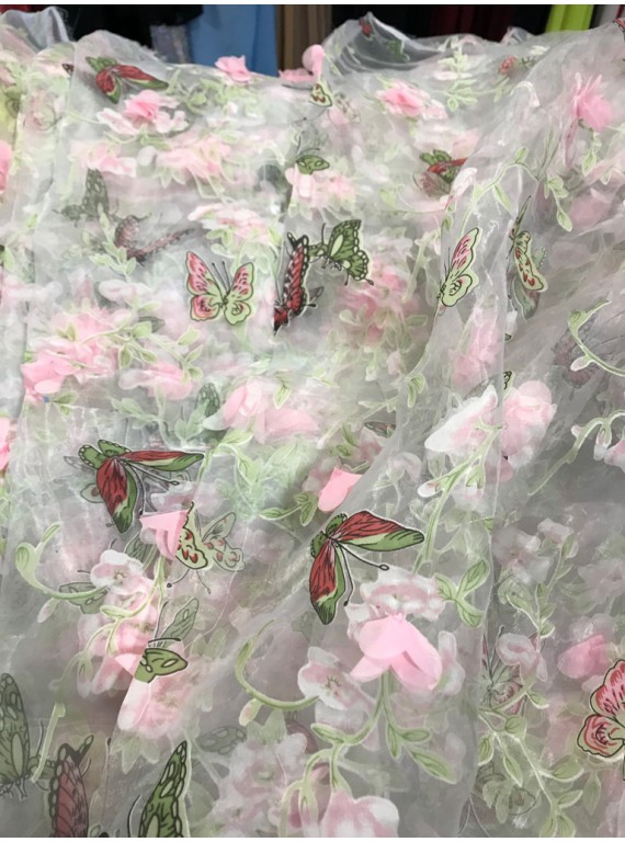Органза 3D с бабочками (ширина 1.5 м) №6