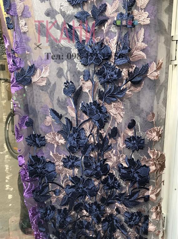 Сетка расшитая цветами, ширина 1,4 м №8