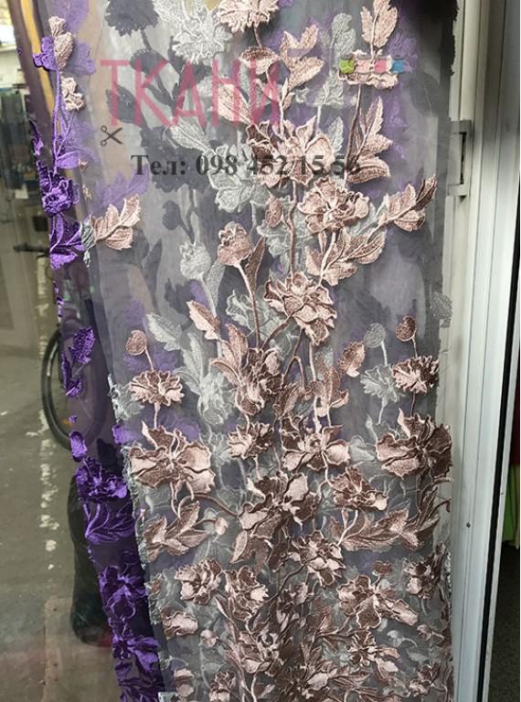 Сетка расшитая цветами, ширина 1,4 м №9