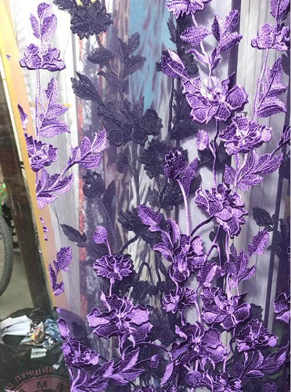 Сетка расшитая цветами, ширина 1,4 м №11
