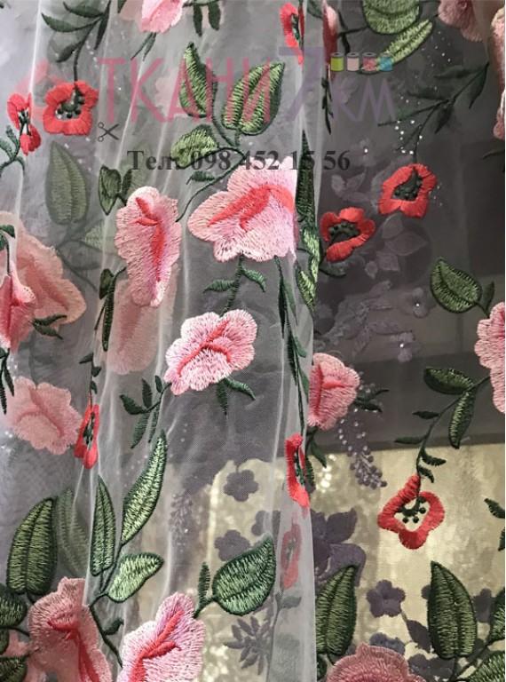 Сетка расшитая цветами, ширина 1,3 м №1