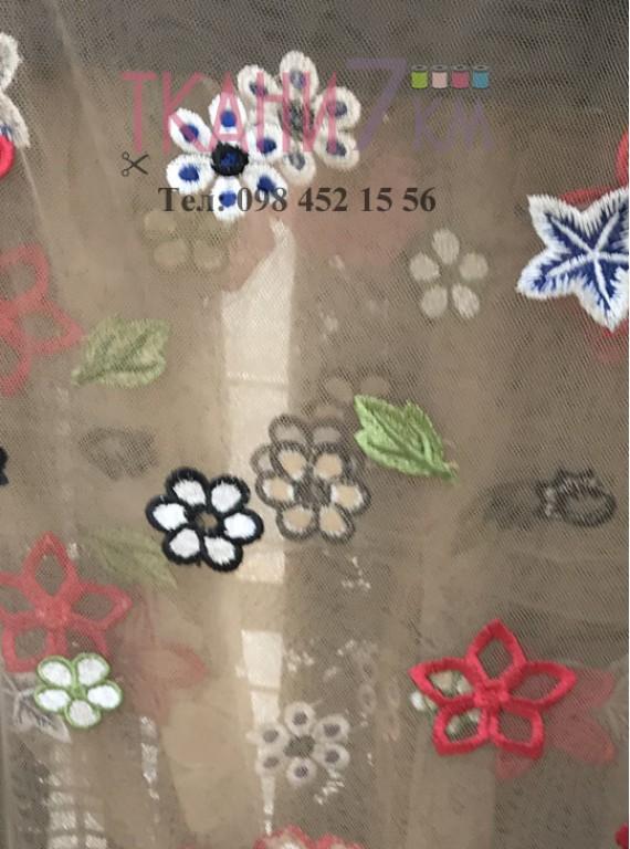 Сетка расшитая цветами, ширина 1,3 м №3