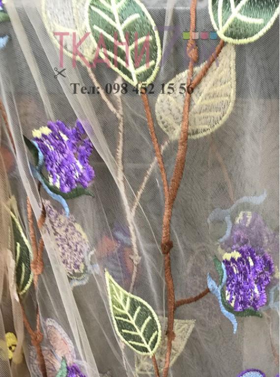 Сетка расшитая цветами, ширина 1,3 м №4