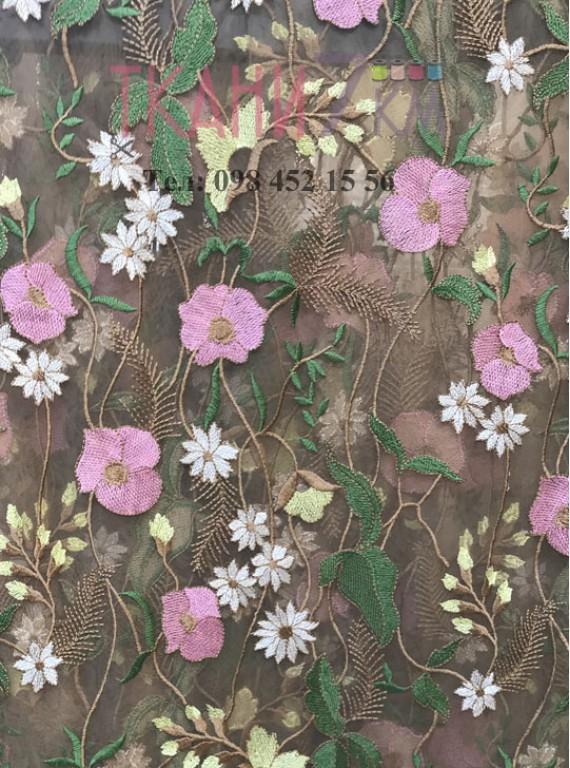 Сетка расшитая цветами, ширина 1,3 м №5