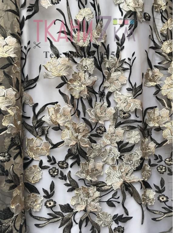 Сетка расшитая цветами, ширина 1,4 м №6