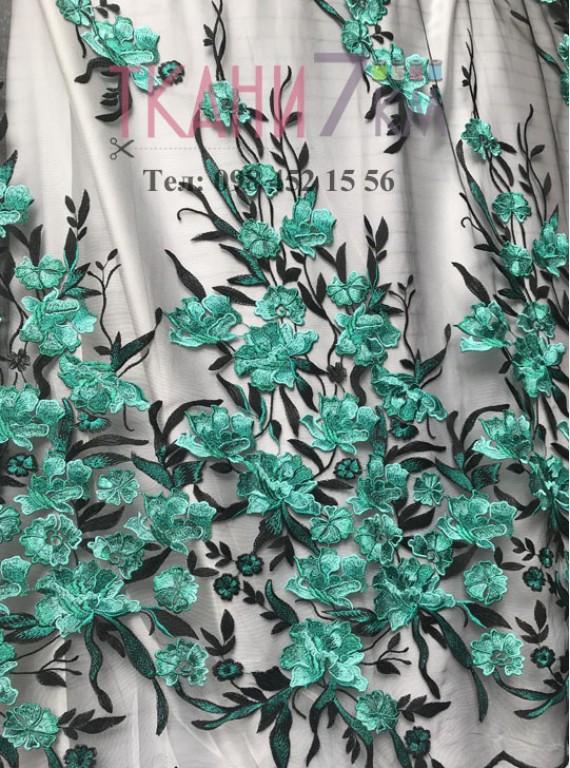 Сетка расшитая цветами, ширина 1,4 м №7